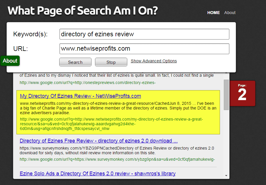 search site results